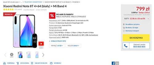 Cena zestawu Redmi Note 8T + Mi Band 4 w RTV Euro AGD
