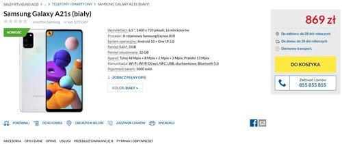Polska cena Galaxy A21s / fot. RTV Euro AGD