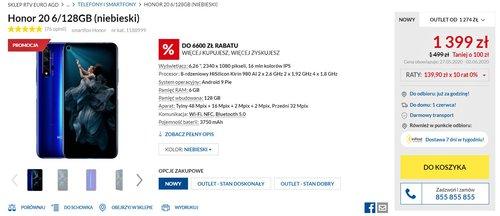 Promocyjna cena Honor 20 w RTV Euro AGD