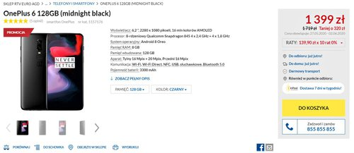 Promocyjna cena OnePlus 6 w RTV Euro AGD