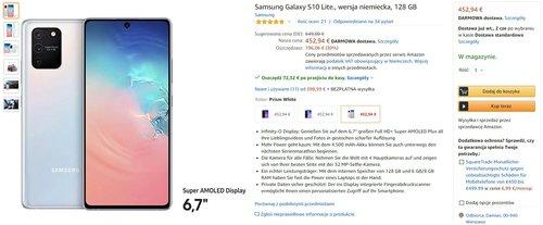 Promocyjna cena Samsunga Galaxy S10 Lite na Amazon.de