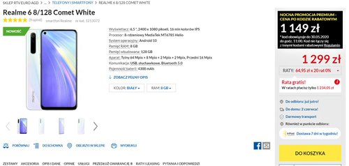 Promocyjna cena Realme 6 (8/128 GB) w RTV Euro AGD
