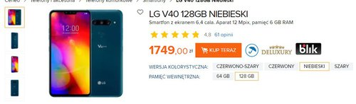 LG V40 poważnie staniał w Polsce/fot. Ceneo