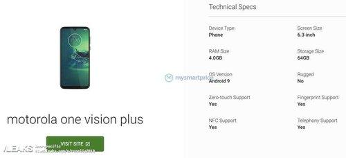 Specyfikacji i wygląd Motoroli One Vision Plus/ fot. MySmartPrice