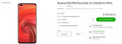 Polska cena Realme X50 Pro/fot. x-kom