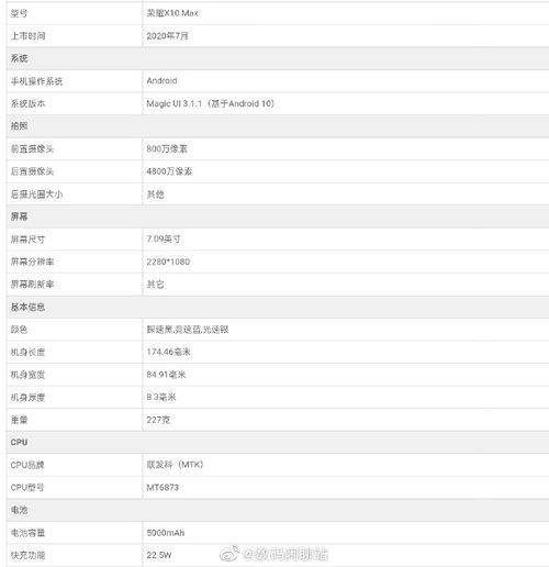 Specyfikacja Honora X10 Max / fot. Weibo