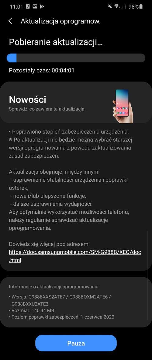 Samsung Galaxy S20 Ultra z czerwcową aktualizacją/fot. gsmManiaK.pl
