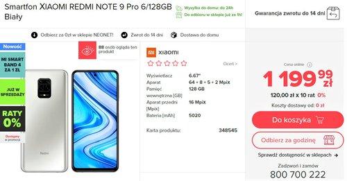 Promocyjna cena Xiaomi Redmi Note 9 Pro w NEONET