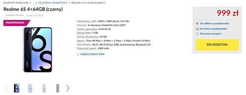 Polska cena Realme 6S w RTV Euro AGD