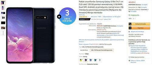 Promocyjna cena Samsung Galaxy S10e na Amazon.de