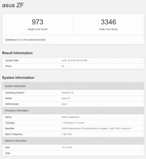 Specyfikacja ASUS Zenfone 7 w Geekbench via GSMarena