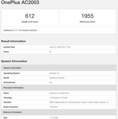 Średniak OnePlus Z z 12 GB RAM/fot. Geekbench