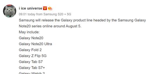 Data premiery Samsunga Galaxy Note 20/fot. IceUniverse