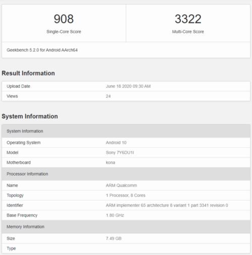 Możliwa specyfikacja Sony Xperia 5 II w Geekbench