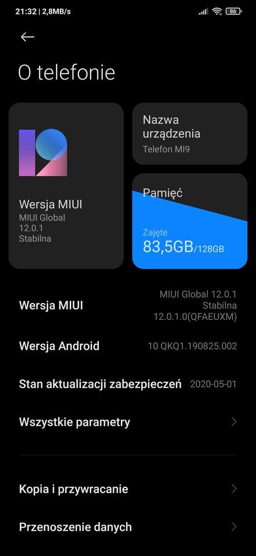 Xiaomi Mi 9 z MIUI 12 / dzięki beaviss :)