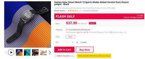 Xiaomi Haylou Solar znowu w dobrej cenie/fot. GearBest
