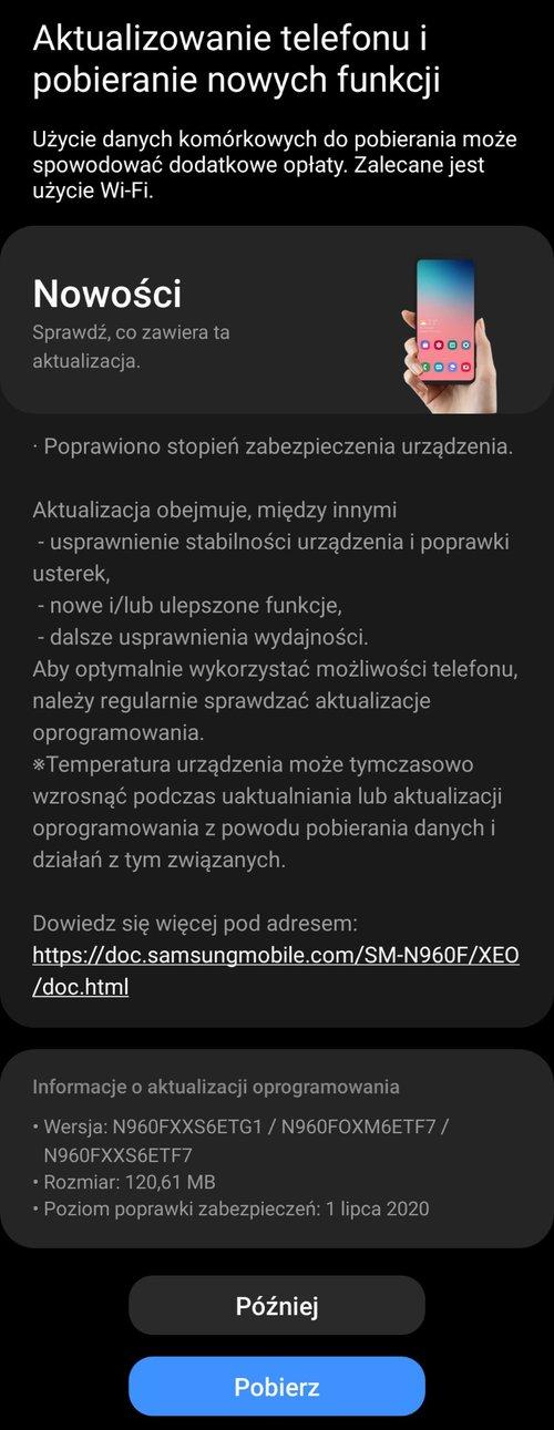 Lipcowe poprawki bezpieczeństwa dostępne dla Galaxy Note 9 w Polsce (XEO)