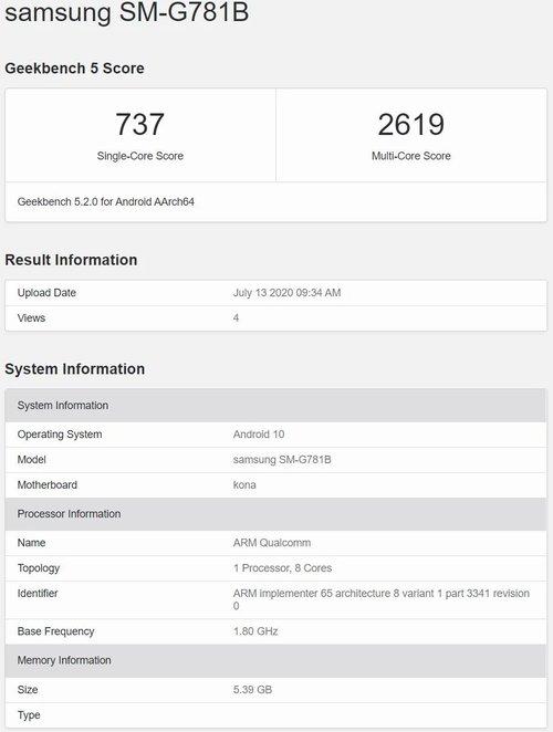 Samsung Galaxy S20 FE z SD865 w GeekBench / fot. Sammobile