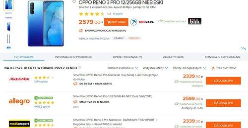 Ceny OPPO Reno 3 w sklepach