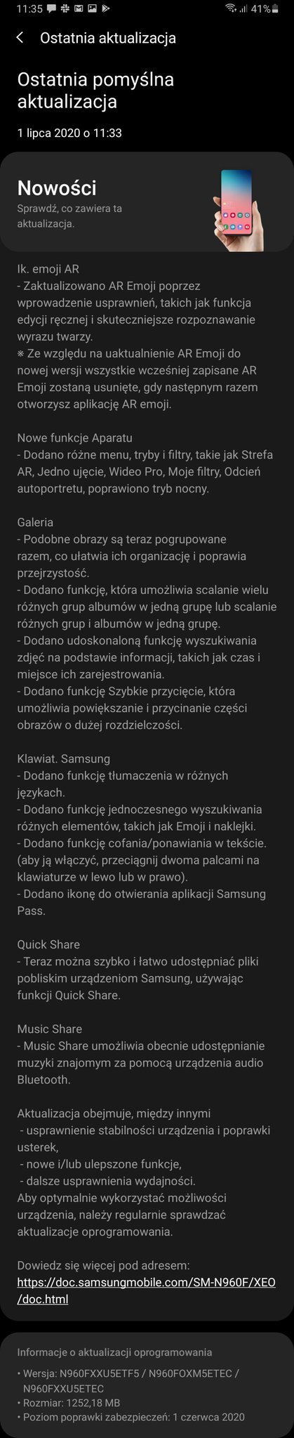 Samsung Galaxy Note 9 otrzymał One UI 2.1 w Polsce (XEO)