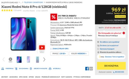 Cena Xiaomi Redmi Note 8 Pro w nocnej promocji RTV Euro AGD