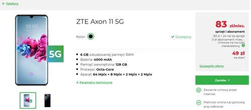 ZTE Axon 11 5G w Plus - na raty 0% z abonamentem 0 zł