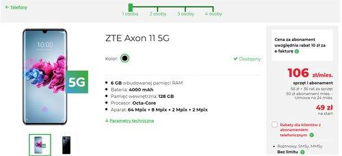 ZTE Axon 11 5G w Plus - przykładowy abonament