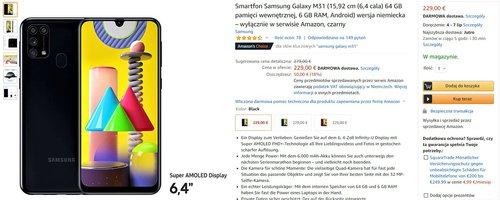 Promocyjna cena Galaxy M31 na Amazon.de