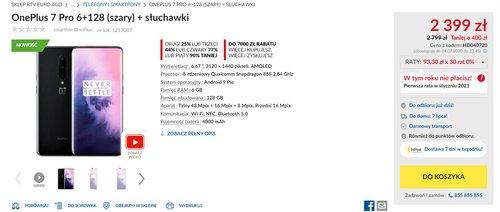 Promocyjna cena OnePlus 7 Pro w RTV Euro AGD