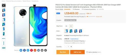 Promocyjna cena POCO F2 Pro (6/128 GB) w Banggood