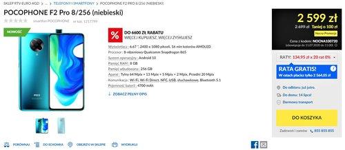 Promocyjna cena POCO F2 Pro (8/256 GB) w RTV Euro AGD