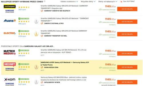 Promocyjna cena Samsung Galaxy A31 w Polsce