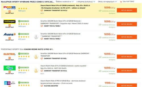 Ceny Redmi Note 8 Pro (6/128 GB) w innych sklepach (oficjalna dystrybucja)