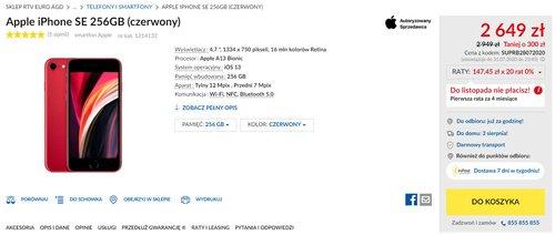 Apple iPhone SE 256 GB w promocyjnej cenie - oferta RTV Euro AGD