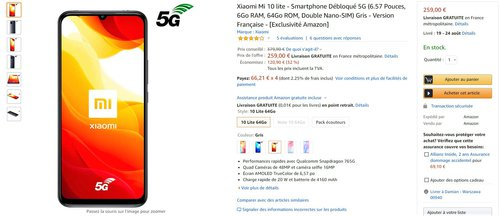 Promocyjna cena Xiaomi Mi 10 Lite na francuskim Amazonie