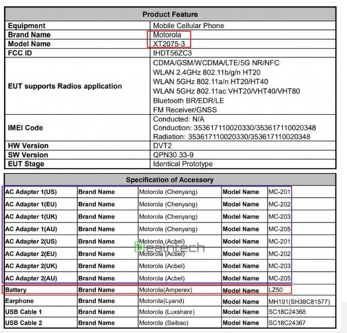 Pojemność baterii Motoroli G 5G imponuje/fot. FCC via GSMarena