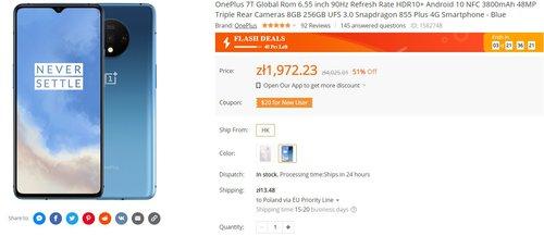 OnePlus 7T w świetnej promocji za mniej niż 1900 złotych/fot. Banggood
