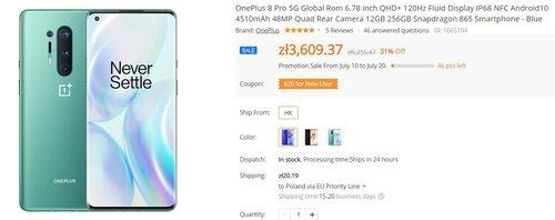 OnePlus 8 Pro o ponad 1000 złotych mniej, niż w Polsce