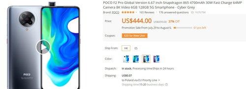 POCO F2 Pro w dobrej promocji sklepu Banggood
