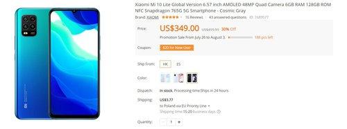 Xiaomi Mi 10 Lite 5G w dobrej cenie/fot. Banggood