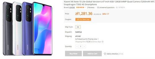 Xiaomi Mi Note 10 Lite znowu w świetnej cenie/fot. Banggood