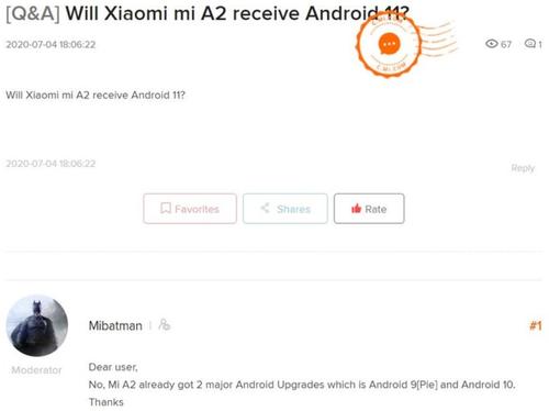 Wsparcie dla Xiaomi Mi A2 zakończy się na Androidzie 10/fot MiForum via notebookcheck