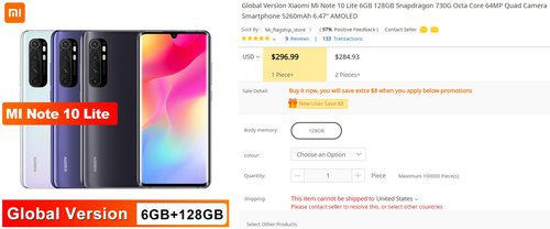 Xiaomi Mi Note 10 Lite za nieco ponad 1000 złotych