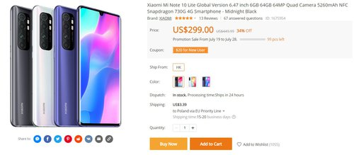 Xiaomi Mi Note 10 Lite w dobrej promocji Banggood