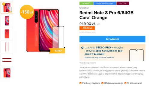Xiaomi Redmi Note 8 Pro Coral Orange w Mi-home