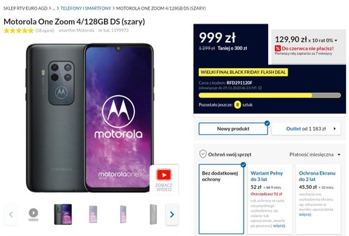 Motorola One Zoom w promocji RTV Euro AGD