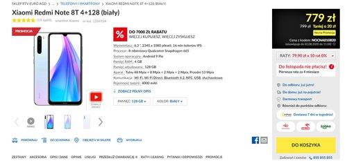 Promocyjna cena Redmi Note 8T (wariant 4/128 GB, kolor biały) w RTV Euro AGD