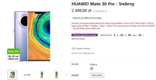 Promocyjna cena Huawei Mate 30 Pro w oficjalnym sklepie Huawei