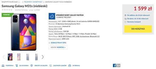 Polska cena smartfona Samsung Galaxy M31s ujawniona m.in. przez RTV Euro AGD