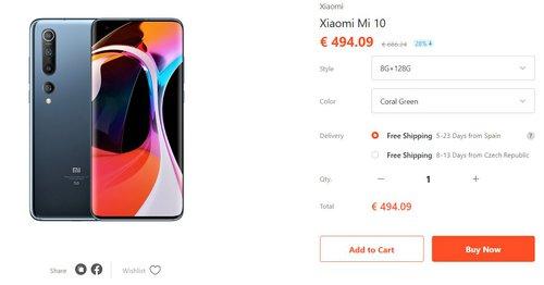 Promocyjna cena Xiaomi Mi 10 w Gshopper